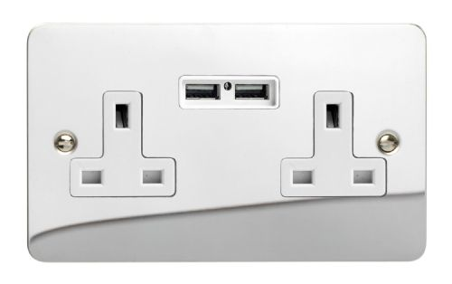 Varilight XFC5U2W Ultraflat Polished Chrome 2 Gang Double 13A Unswitched Plug Socket 2.1A USB